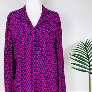 DVF Purple Navy Print Pull Tap Silk Lorelei Blouse